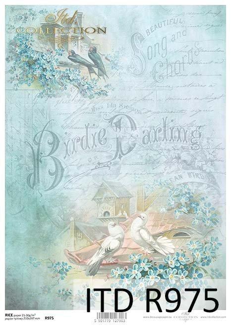 niezapominajki-ptaki-czyżyki-jaskółki-gołąbki-ptasie-domki-pastelowe-kolory-napisy-Papier-decoupage-ryżowy-R0975