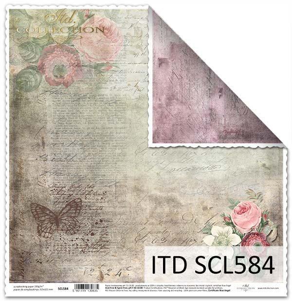 Papier do scrapbookingu - kwiaty, pszczoła*Paper for scrapbooking - flowers, bee