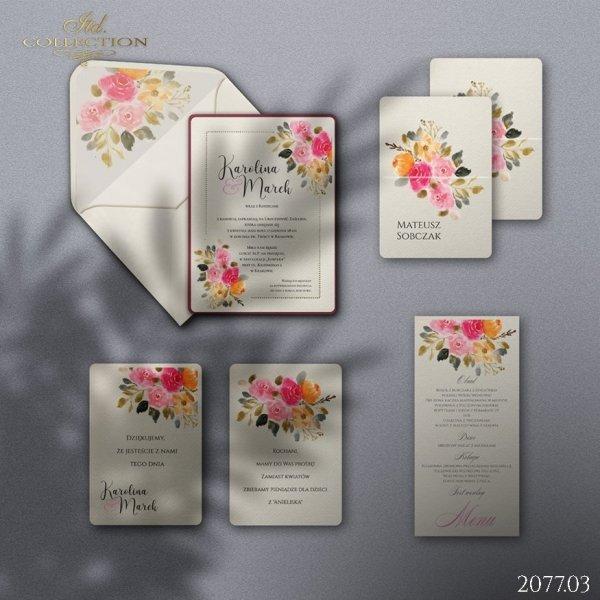 Zaproszenie 2077 * Zaproszenia ślubne * menu * winietka * koperta z wklejką - wersja 3