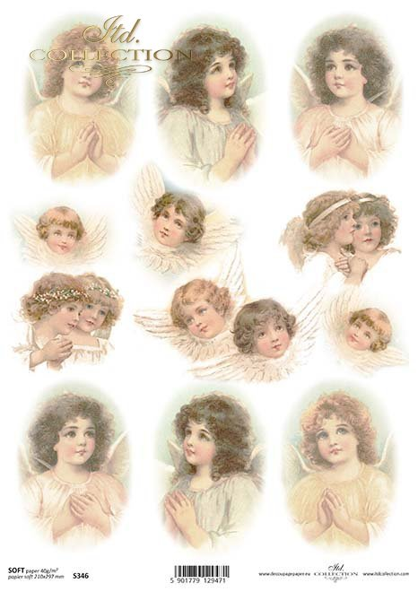 Papel Decoupage Ángeles*Papírové Decoupage Angels*Papier Decoupage Engel