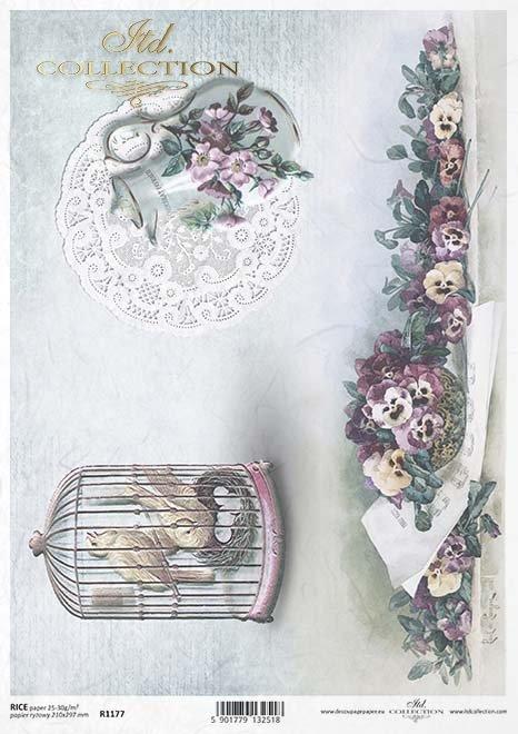 Decoupage Papier Vogelkäfig , Krug, Stiefmütterchen*decoupage jaula de pájaro de papel, Jarro, Pensamientos