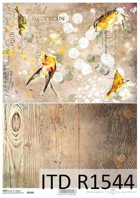 Papier decoupage ptaki, struktura deski, Vintage, kolaż*Paper decoupage birds, plank structure, Vintage, collage