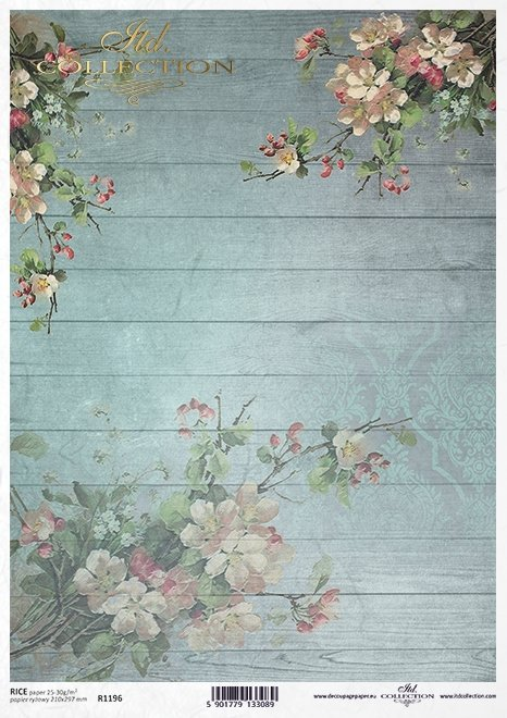 Decoupage Papier Apfelblüte , blau Bretter*decoupage flor de papel de manzana, placas azules*декупаж бумага яблони, синие доски
