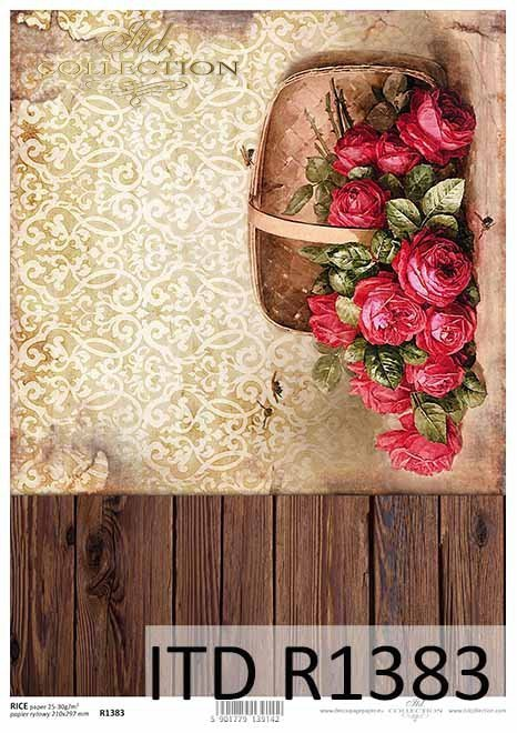 Papier decoupage deski, tapeta, koszyk z różami*Paper decoupage boards, wallpaper, basket with roses