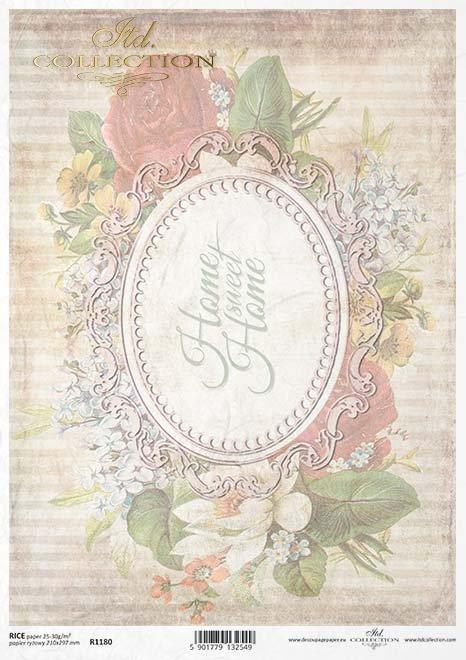 decoupage de papel con una caja ovalada, Home Sweet Home*Decoupage Papier mit einem ovalen Feld, Home Sweet Home