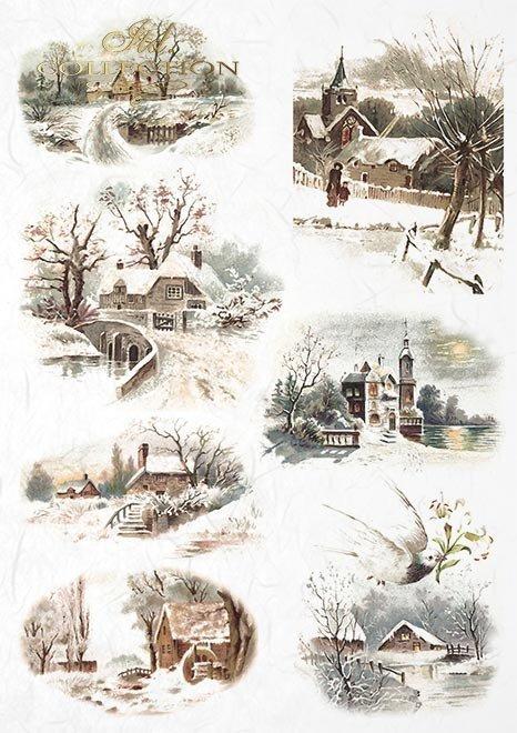 Conjunto creativo en papel de arroz - Navidad*Kreativsatz auf Reispapier - Weihnachtszeit*Творческий набор на рисовой бумаге - Рождество