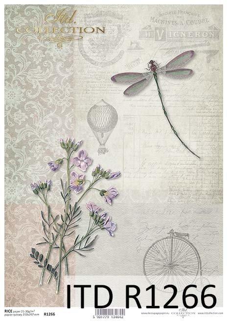 papier decoupage retro, bicykl, ważka, balon*Decoupage paper retro, bicycle, waist, balloon