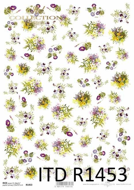 kwiaty, powojnik, bratki, kwiaty polne, drobne elementy*flowers, clematis, pansies, field flowers, small elements