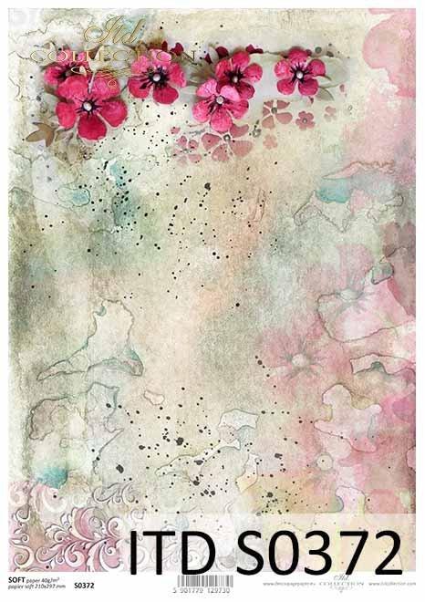 papier decoupage kwiaty, kolorowe akwarele*paper decoupage flowers, colorful watercolors