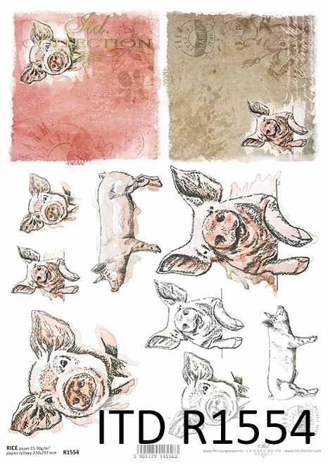 Papier decoupage Wielkanoc, szczęśliwa farma, świnka*Easter decoupage paper, happy farm, piggy