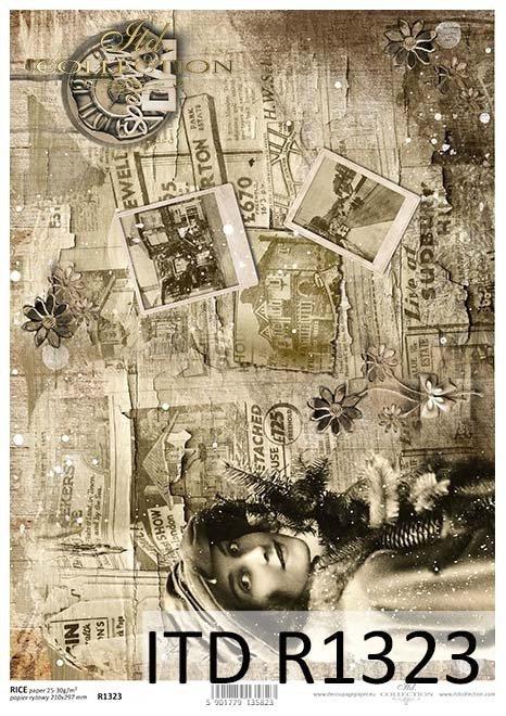 Papier decoupage Vintage, Sepia, gazety, zdjęcia*Vintage decoupage paper, Sepia, newspapers, photos