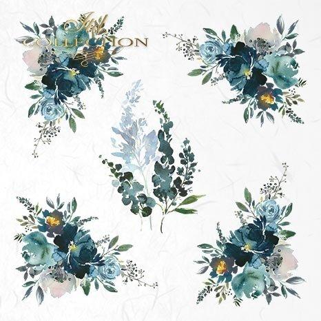 Zestaw papierów ryżowych ITD - RSM018 * akwarelowe, niebieskie kompozycje kwiatowe