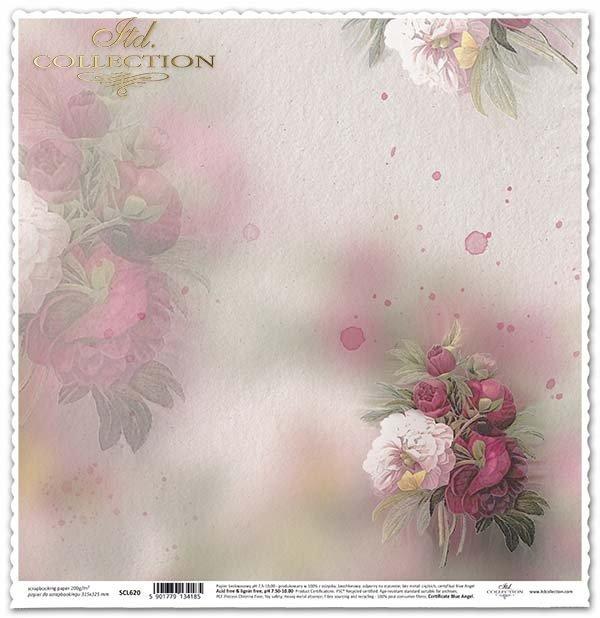 papel para scrapbooking, flores, peonías*бумага для скрапбукинга, цветы, пионы*Papier für das Scrapbooking, Blumen, Pfingstrosen