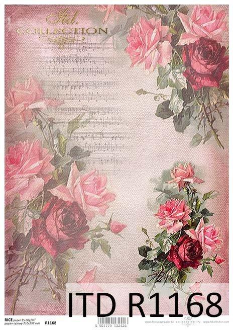 papier decoupage Róże, nuty*Paper decoupage roses, notes