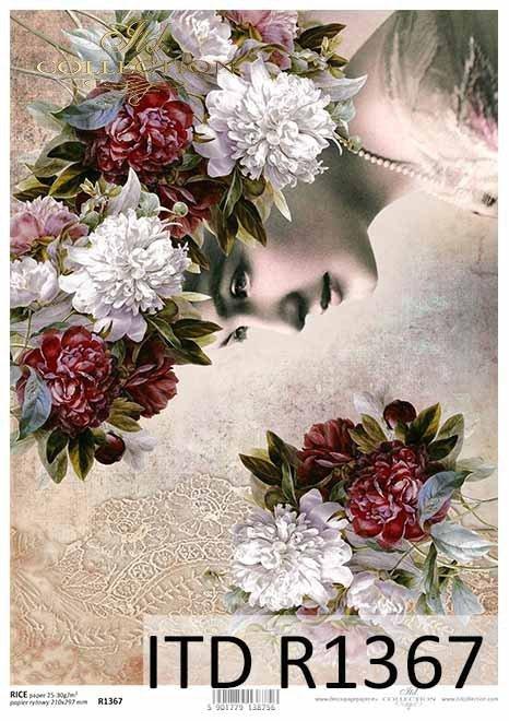 Papier ryżowy decoupage kwiaty, Peonie, twarz kobiety*Rice paper decoupage flowers, peonies, woman's face
