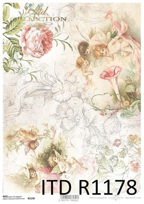 Papier decoupage Elfy, zaczarowany ogród*Paper decoupage Elves, enchanted garden