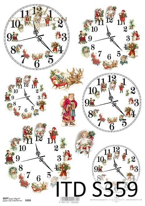 papier decoupage świąteczne zegary, boże narodzenie, Mikołaj*paper decoupage Christmas clocks, Christmas, Santa Claus