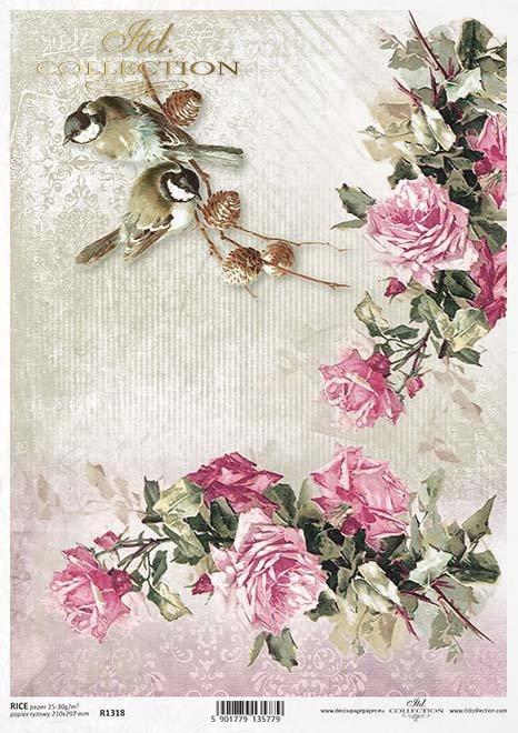 papier decoupage kwiaty, Róże, ptaki*paper decoupage flowers, roses, birds*Papier Decoupage Blumen, Rosen, Vögel*бумага декупаж цветы, розы, птицы*flores de papel decoupage, rosas, pájaros