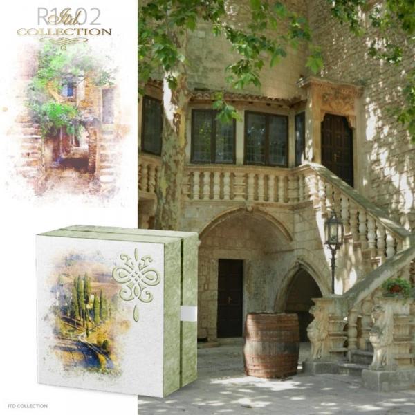 example 01 - papier ryżowy decopuage Akwarele,romantyczne zakątki, wiejskie widoczki, domek w kwiatach, kwiaty w słońcu, lato