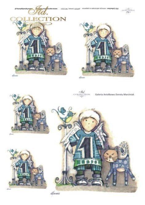 Papier ryżowy decoupage - aniołek, Aniołkowo, Dorota Marciniak, kot, ptak, R0161