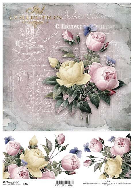 Decoupage papírové květiny, růže*Decoupage Papierblumen , Rosen*Flores de papel decoupage, rosas