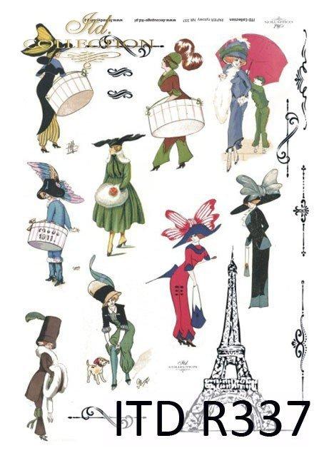 wieża Eiffla, moda, Paryż, dawna Francja, vintage, kapelusz, kapelusze, żart, kwiaty, R337
