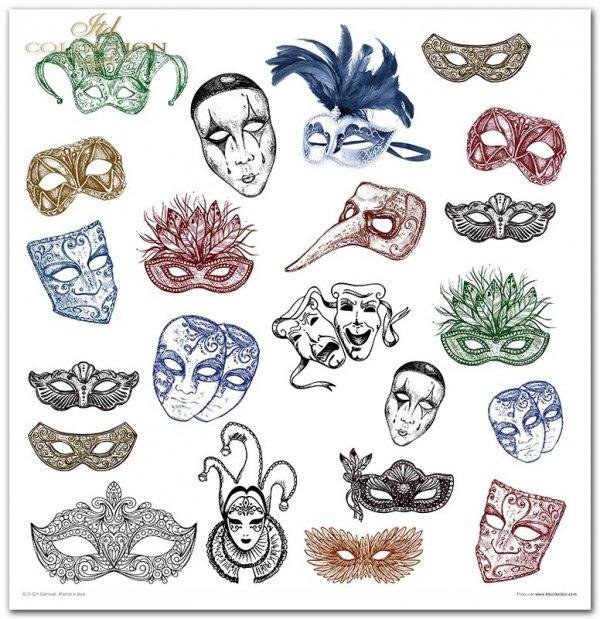 Karnival Pierrot in love - Karnawał, zakochany Pierrot, maski, maski weneckie, karnawał, karuzela, Pierrot, Pierrot i Kolombina, tła Vintage, cyrk, karuzela, zabawa, romby, tło harleqin, tła cyrkowe