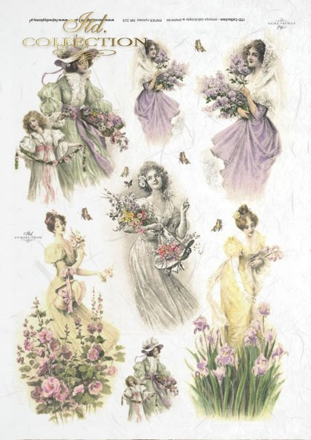 spring, flower, mallow, mallow, butterfly, butterfly, woman, dress, retro,