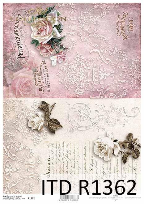 Papier decoupage kwiaty, róże, dekory, napisy*Paper decoupage flowers, roses, decors, inscriptions