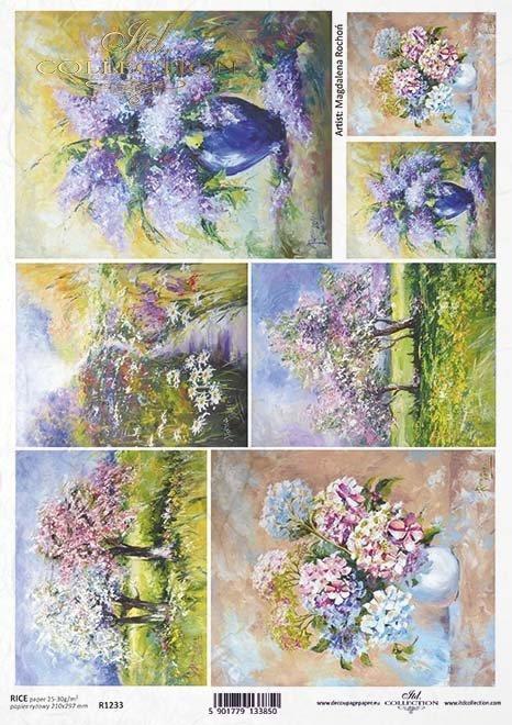 Papel Decoupage pintura contemporánea, flores* Бумага Декупаж современная живопись, цветы*Papier Decoupagepapier zeitgenössische Malerei, Blumen