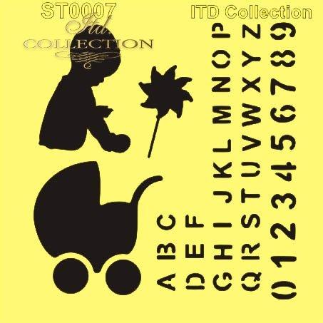 ST0007 - Alfabet, chłopczyk, wózek