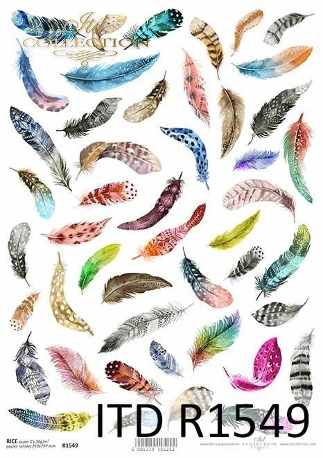 Papier decoupage kolorowe pióra*Decoupage paper with colorful feathers