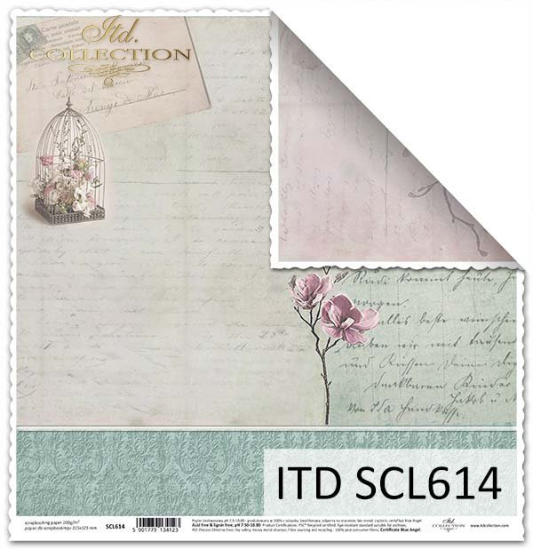 papier do scrapbookingu, retro, kwiaty, odręczne pismo*Paper for scrapbooking, retro, flowers, handwriting