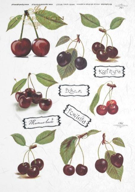 papier-ryżowy-decoupage-owoce-wiśnia-wiśnie-wisienki-napisy-etykiety-R0127