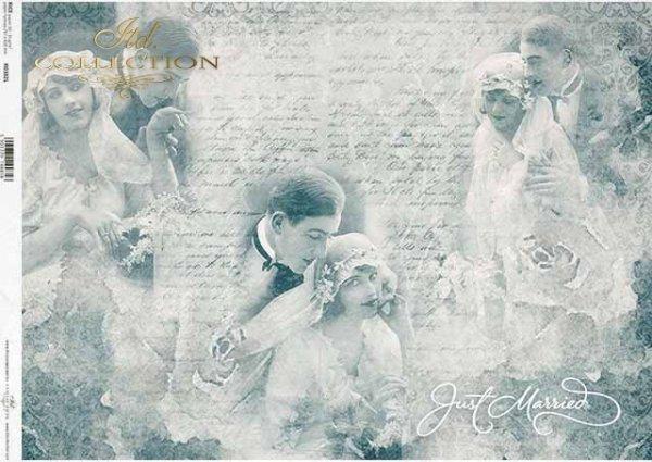 Papel decoupage retro, pareja joven, recién casados, amantes, collage de boda*Papier-Decoupage retro, junges Paar, Brautpaar, Liebhaber, Hochzeit Collage*Декупаж из бумаги ретро, молодая пара, молодожены, влюбленные, свадебный коллаж