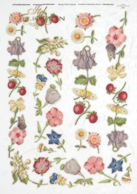 Papier decoupage ryżowy*Rice paper decoupage, flowers, butterflies, strawberries