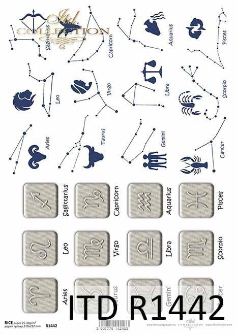 papier decoupage znaki zodiaku*decoupage paper signs of the zodiac