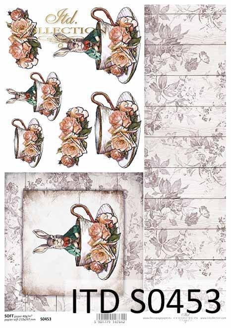 Wielkanoc, Vintage, zając w surducie, filiżanka, deski, kwiaty, róże*Easter, Vintage, hare in a coat, cup, boards, flowers, roses
