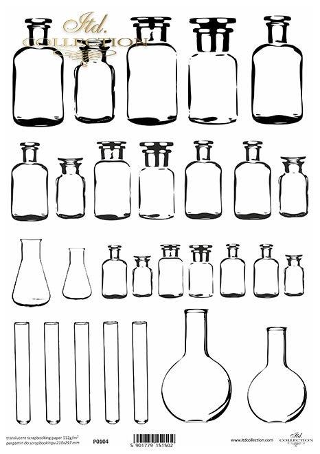 szklane buteleczki, próbówki, kolby stożkowe*Jars, preserves Glass bottles, test tubes, conical flasks*Gläser, Konserven Glasflaschen, Reagenzgläser, Erlenmeyerkolben*Frascos, conservas Frascos de vidrio, tubos de ensayo, matraces cónicos