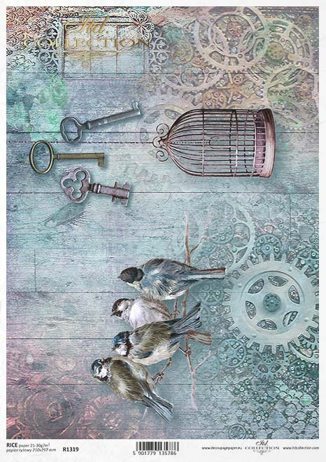 Papier decoupage ptaki, klucze, kola zębate*Paper decoupage birds, keys, toothed wheel*Papel decoupage pájaros, llaves, rueda dentada*Бумажные декупаж птицы, ключи, зубчатое колесо*Papier Decoupage Vögel, Schlüssel, Zahnrad