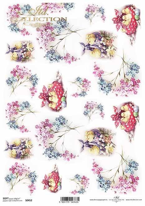 Pascua, flores de primavera, nomeolvides, pollo*Ostern, Frühlingsblumen, Vergissmeinnicht, Hühnchen*Пасха, весенние цветы, незабудки, курица