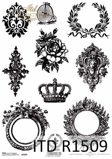 Papier ryżowy Vintage, owale, korona, Laur, dekory*Vintage rice paper, ovals, crown, Laurel, decors