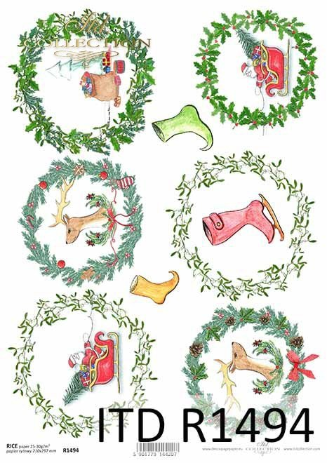 Boże Narodzenie, świąteczne wieńce, Mikołaj, motywy na bombki, buty skrzata*Christmas, Christmas wreaths, Santa Claus, motifs for Christmas balls, gnomes shoes