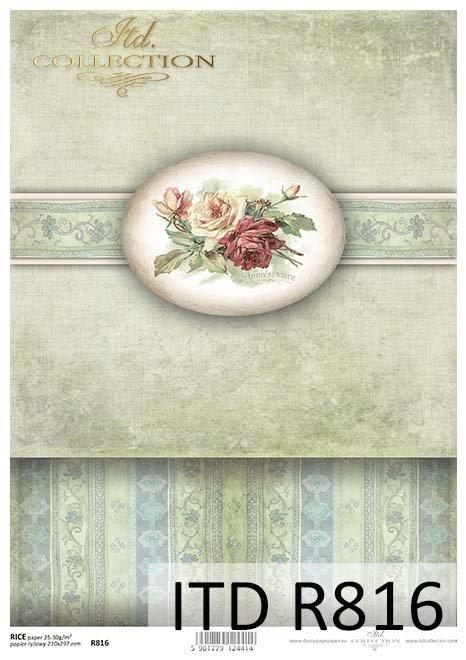Papier ryżowy do decoupage - 'PUDEŁKOWO' kwiaty, róże - R0816