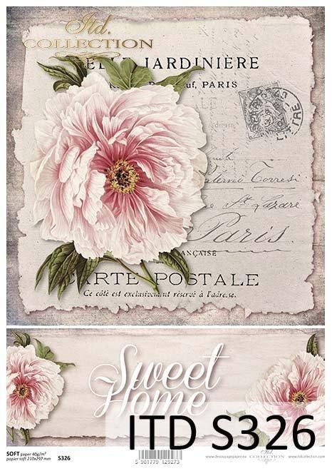 Papier decoupage kwiaty, Peonia*Decoupage paper flowers, Peony