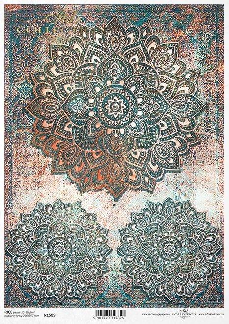 Do-decoupage-Papier-ryzowy-decoupage-R1589--wzor-tapetowo-dywanowy-idealny-jako-Mandala-w-pieknych-turkusach-z-rdzawymi-przetarciami-1