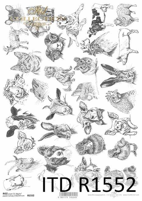 Papier decoupage Wielkanoc, szczęśliwa farma, czarno-białe stemple, buttony*Easter decoupage paper, happy farm, black and white stamps, buttons