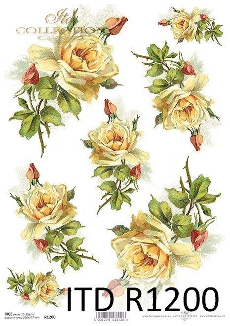 Rice paper r1200 paper for decoupage vintage flowers wild rose papier ryowy kwiaty herbaciane rerice paper flowers tea roses mightylinksfo