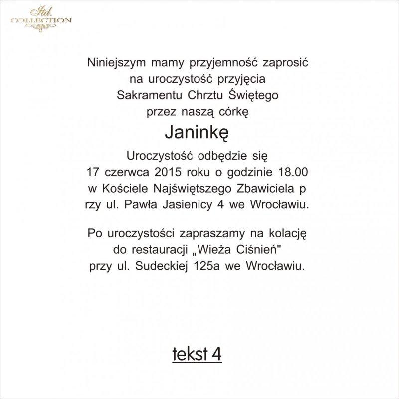 Tekst Na Chrzest Tc4 Itd Collection Zaproszenia Na Różne Okazje