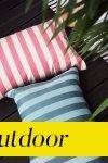 Poduszka ogrodowa w różowe pasy 60x40